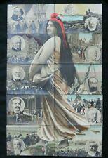c1910 SET 10 INSTALLMENT PUZZLE POSTCARD FRANCE MARIANNE PUB CROISSANT PARIS