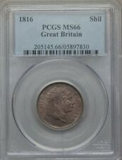 ENGLAND GEORGE III 1816 1 SHILLING SILVER COIN, UNCIRCULATED CERTIFIED PCGS MS66