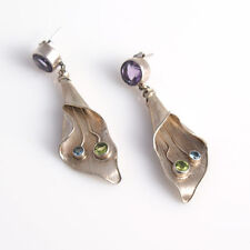 Natural Amethyst Peridot Blue Topaz Solid Sterling Silver 92.5 Designer Earrings