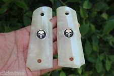1911 Full Size Grip Colt Commander Kimber SPRINGFIELD Punisher Skull Silver Med