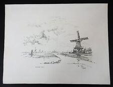 Joseph Pennell i mulini a vento in Zaandam 1897 litografia