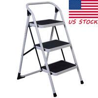Folding 3-Step Ladder Non-slip Platform Stool Heavy Duty Tool Anti-slip Home