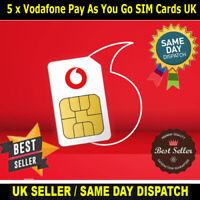 5 x Vodafone UK Network Pay As You Go Trio Sim Cards New Bulk Wholesale Joblot