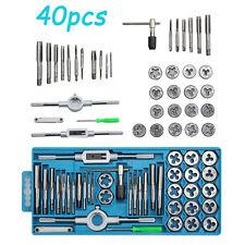 40 Pcs Metal Case Metric Tap Die Set, Screw Thread Drill Kit, Pitch Gauge M3-M12