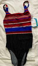 Speedo Women's Endurance One Piece Swimsuit Size 12 Red Black Striped