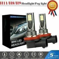 2X H11 Mini Ultra-light 110W 20000LM COB LED Headlight Low Beam Fog Bulb 6000K