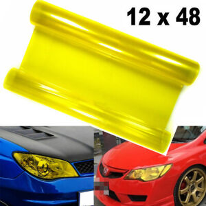 JDM Yellow Sporty Racing Tint Vinyl Film Trim Wrap for Headlight DRL Fog Light
