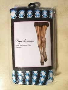 Leg Avenue Thorn Net Contrast Color Pantyhose, Black and Neon Blue, One Size