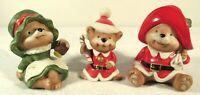 Vintage Christmas Set Lot Homco 3 Bears Papa Mama Baby Santa Figurines Ceramic