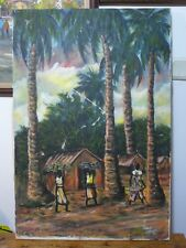 African Art Oil on Canvas Painting Signed Prince Okuku Dated 1985