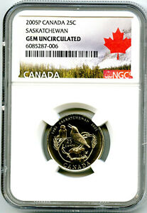 2005 P CANADA 25 CENT NGC GEM UNCIRCULATED SASKATCHEWAN QUARTER