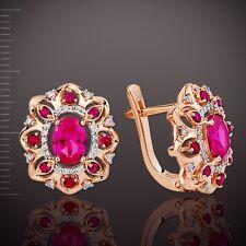 Rosegold Ohrringe mit e. Diamanten & Rubinen Korund Russisches Rose Rotgold 585