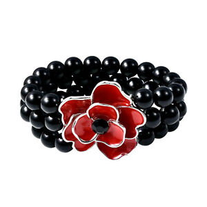 Lime Stone Accessories™   Red Floral & Black Pearl Beads - Stretch Bracelet