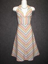 TRINA TURK Colorful Cotton Striped Resort Cover Up Halter Dress SZ 4