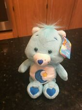 "Care Bears bean bag Blue Bedtime Bear Plush Moon Star Hearts 8"" NWT"