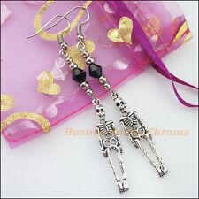 Winsome Silver Retro Skull Black Crystal Dangle Hook Earrings Women Jewelry