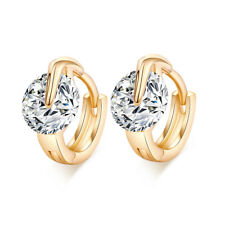 Fashion round crystal yellow gold filled womens wedding hoop earrings statement