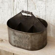 New Primitive Rustic COUNTRY LIVING DIVIDED BUCKET Metal Basket Bin Organizer