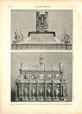 Chasse de Saint Remi Reims Reliquaire Sainte Ampoule Tresor GRAVURE FRANCE 1896