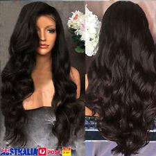 Women 28'' Black Long Wavy Natural Wigs Ladies Full Head Synthetic Hair Wig