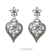 2x Sterling Silver Marcasite Bali Filigree Flower Leaf Charm Stud Earring Post