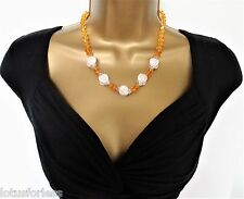 "Beautiful 18 - 20"" Long Orange Bead Necklace with Marble Effect Beads"