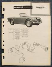TRIUMPH TR4 SPORTS CAR GIRLING 1961 Brakes Installation Maintenance Data Guide