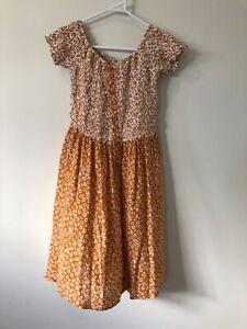 Tree Of Life Size S Shirred Orange & White Floral Boho Short Dress Stay Surreal