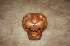 Vintage Hand Carved Wood Wild Cat Head Sculpture Beautifullly Carved