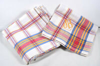 Vintage French pure cotton blue red gold striped checked table napkins x 6 NOS