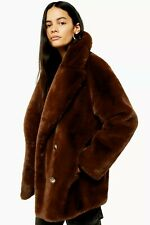 New Arrival TopShop Soft Faux Fur Double Breasted Coat Last Size M
