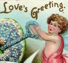Valentine,Loves Greeting,Cupid Holds Flowered Key to Heart,Doves,1908 Postcard