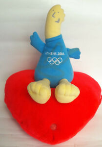 Athens 2004 Olympics Official Mascot Phevos Soft Plush Figure Red Heart W Sounds