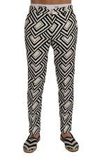 NEW $980 DOLCE & GABBANA Pants White Black Striped Linen Casual s. IT48 / W34