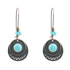 Antique Women 925 Silver Turquoise Drop Dangle Hook Earrings Vintage Jewelry
