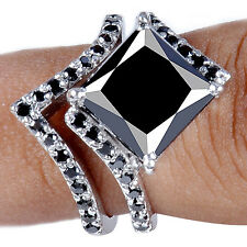 5.21 ct Aaa Black Moissanite Princess Cut .925 Sterling Bridal Ring - See Video