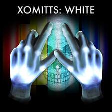 White LED XO Magic Mitts LED Flashing Gloves Rave Party HALLOWEEN Skeleton Hands