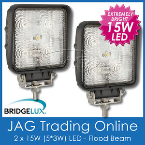 2 x 15W BL LED SQUARE FLOOD/WORK LAMP - 4x4/Driving/Truck/Boat/Caravan/RV Lights
