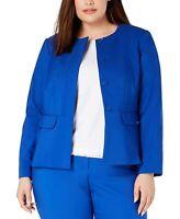 Calvin Klein Women's Blue Size 16W Plus Peplum Button Front Jacket $139 #347