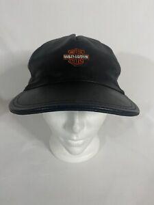 Vintage Harley Davidson Leather Cap Strap Back, Made In USA