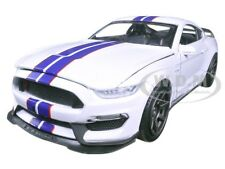 2016 FORD SHELBY MUSTANG GT350R WHITE/BLUE 1/24 DIECAST MODEL BY NEW RAY 71833