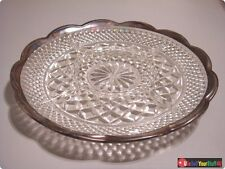 """Vintage 11"""" Diameter Scalloped Silver Rim Cut Glass 4 Section Divided Dish NICE!"""
