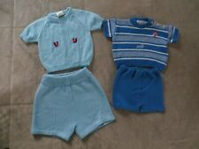 Vintage Glo Knit Japan Philippines Baby Boy Blue White Sweater Knit Top Shorts