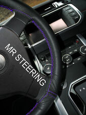 FOR SEAT ALHAMBRA MK2 10+BLACK LEATHER STEERING WHEEL COVER PURPLE DOUBLE STITCH