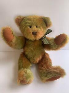 Rare Russ Jointed Teddy Bear Berrie Original Sample Green Orange Brown Bow One