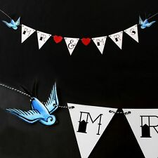 Tattoo Wedding Bunting Mr & Mrs Rockabilly Sailor Jerry Sparrows Punk Decoration