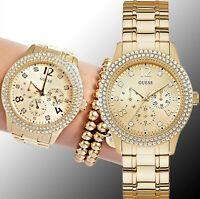 Guess  Uhr Damenuhr W1097L2 Bedazzle Edelstahl IP Gold neu
