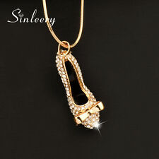 2016 Charm Crystal High heel Shoes Pendant Long Necklace For Women Party My390