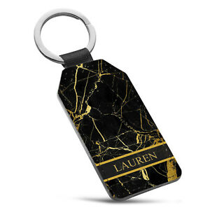 Personalised Marble Name Initial Leather Keyring - 20