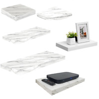 Shelves White Marble High Gloss Floating Shelf Display Unit Wall Mounted Shelves